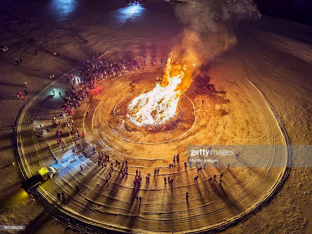Aerial view of Bonfire, Reykjavik, Iceland : Stock Photo