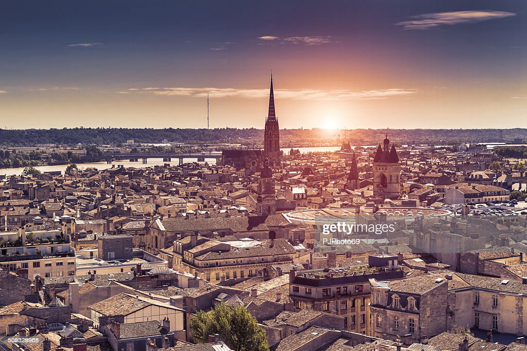 Aerial view of Bordeaux at sunset : Stock Photo