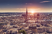 Aerial view of Bordeaux at sunset