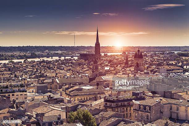aerial view of bordeaux at sunset - aquitaine stock photos and pictures