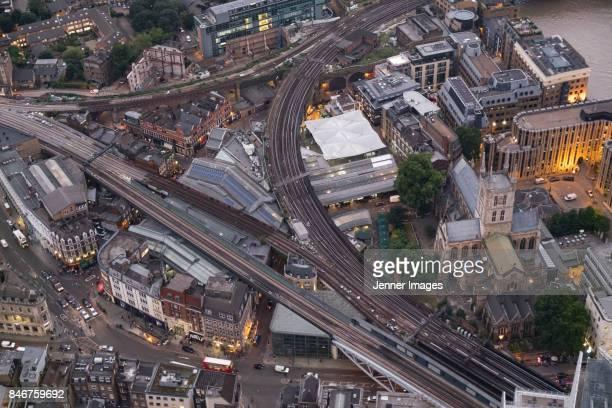 aerial view of borough market and london bridge at dusk. - borough market - fotografias e filmes do acervo
