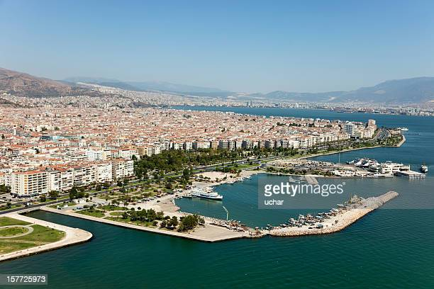 aerial view of bostanli pier in izmir - izmir stock pictures, royalty-free photos & images