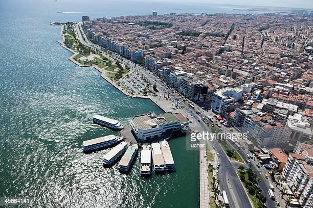 Aerial view of Bostanli pier in Izmir