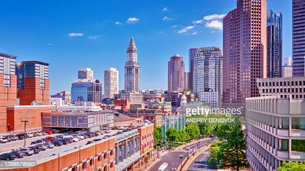 aerial view of boston city street. remarkable architecture, tall skyscrapers, financial district. - boston massachusetts stock pictures, royalty-free photos & images