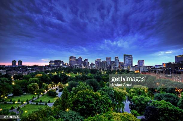 Aerial view of Boston Skyline and Boston Public Garden at night