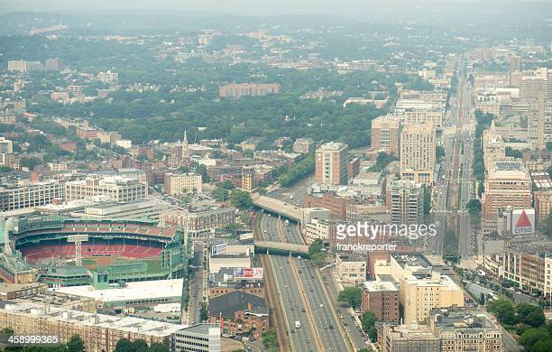 Aerial view of Boston with Fenway Park and highway