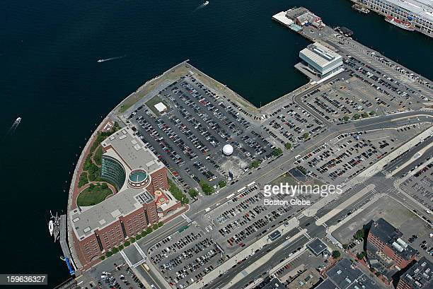 Aerial view of Boston's Fan Pier with the Moakley Federal Courthouse and Institute Of Contemporary Art