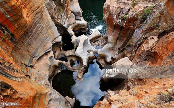 Aerial view of Bourke's Luck potholes at Blyde River Canyon
