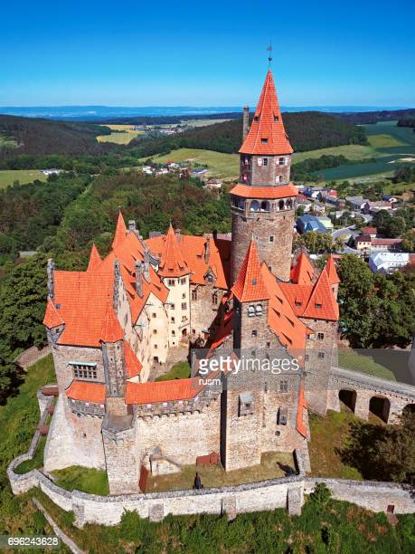 Aerial view of Bouzov Castle, Moravia, Czech Republic