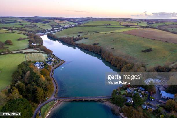aerial view of bowcombe creek on the kingsbridge estuary, south hams, devon from a drone. - drone point of view stock pictures, royalty-free photos & images