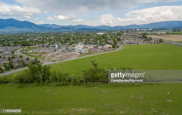 aerial view of bozeman montana residential community - bozeman stock pictures, royalty-free photos & images