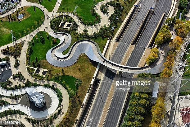 Aerial view of  BP Pedestrian Bridge, Chicago