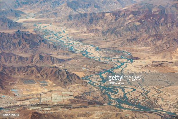 Aerial view of braided channels of Brahmaputra River, Tibet, China