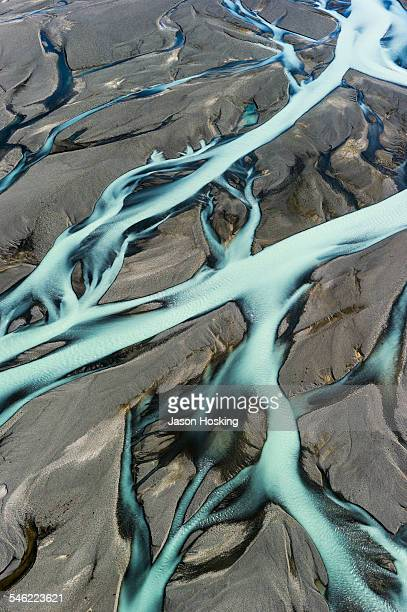 Aerial view of braided river from melting glacier