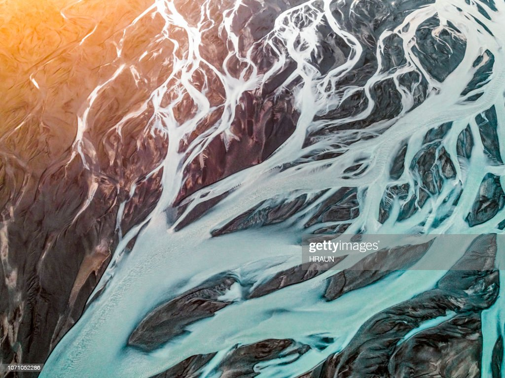 Aerial view of braided river. : Stock Photo