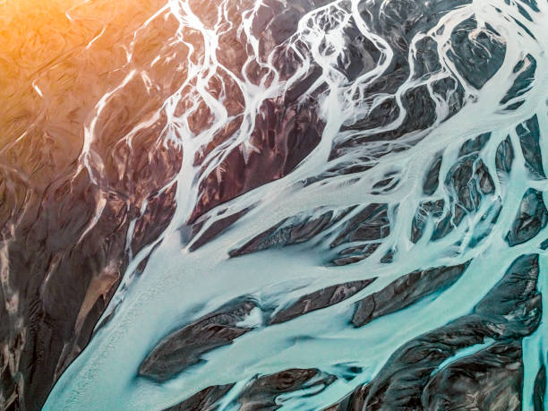 aerial view of braided river. - horizontal stock pictures, royalty-free photos & images
