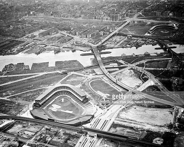 Aerial view of brandnew Yankee Stadium in 1923 shows empty spaces that will soon grow into busting South Bronx around the new ballpark