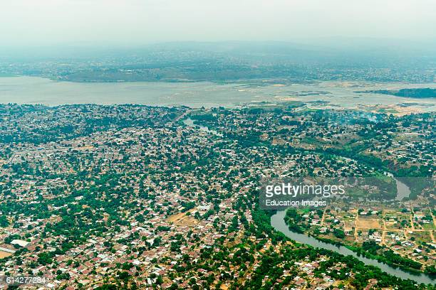 Aerial view of Brazzaville with the Congo River and Kinshasa Capital of Democratic Republic of the Congo in the background