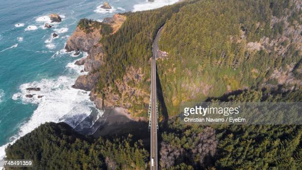 Aerial View Of Bridge Amidst Trees And Mountains By Sea