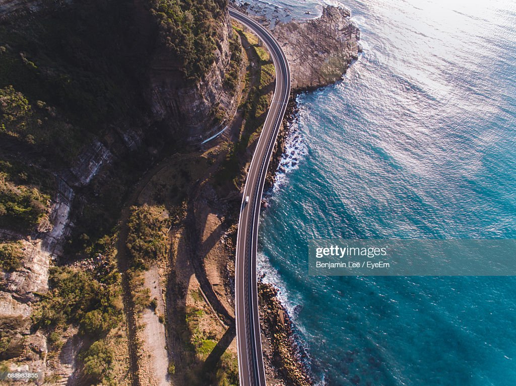 Aerial View Of Bridge By Sea : Stock Photo