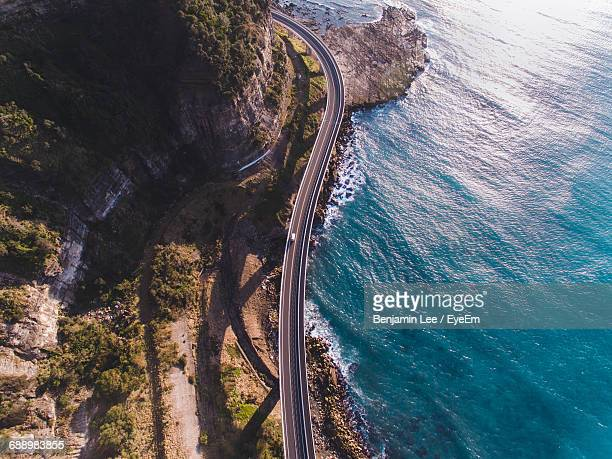 aerial view of bridge by sea - wollongong stock pictures, royalty-free photos & images