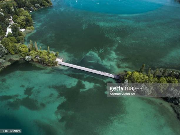 aerial view of bridge crossing lake konstanz, bavaria, germany - bodensee stock pictures, royalty-free photos & images