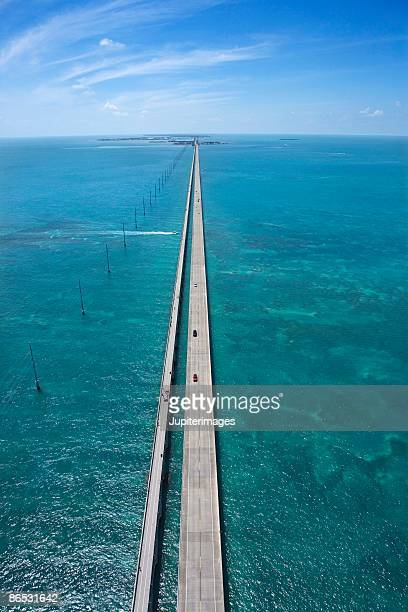 aerial view of bridge in florida keys - florida keys stock pictures, royalty-free photos & images