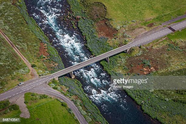 Aerial view of bridge over flowing river, Iceland
