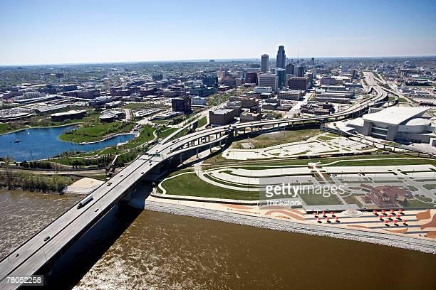 Aerial view of bridge over Missouri River, Omaha, Nebraska