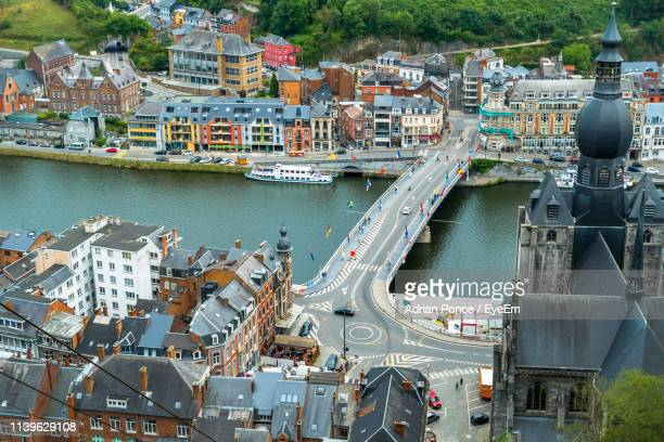 aerial view of bridge over river in city - ナミュール州 ストックフォトと画像