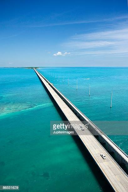 Aerial view of bridge over sea