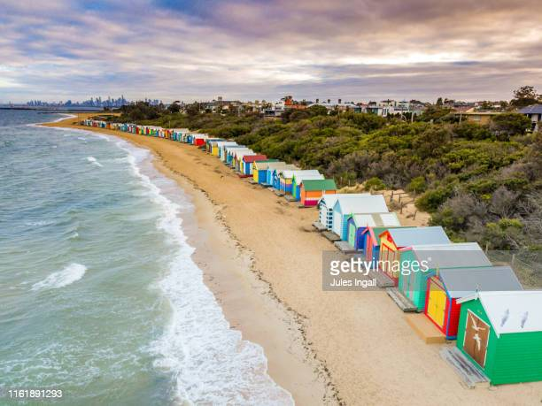 aerial view of brighton bathing boxes - melbourne australia foto e immagini stock