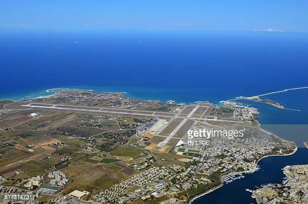 aerial view of brindisi airport - ブリンディシ ストックフォトと画像