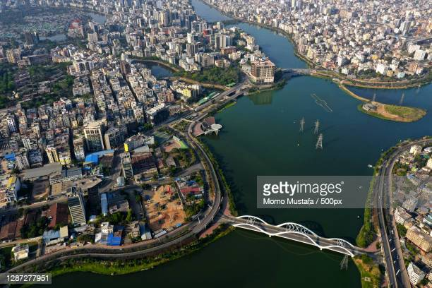 aerial view of brisbane cbd,unnamed road,dhaka,bangladesh - dhaka stock-fotos und bilder