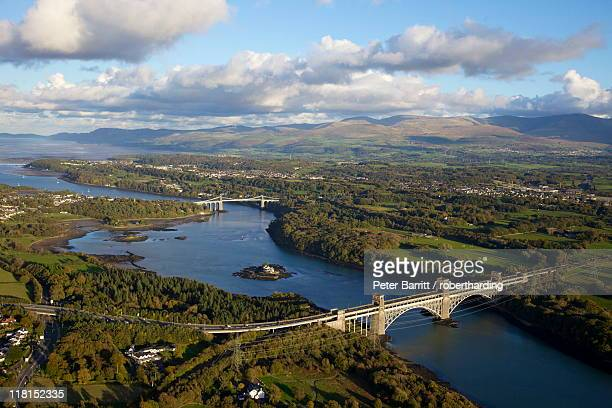 Aerial view of Britannia Bridge and the Menai Bridge, Menai Strait, Gwynedd, North Wales, Wales, United Kingdom, Europe