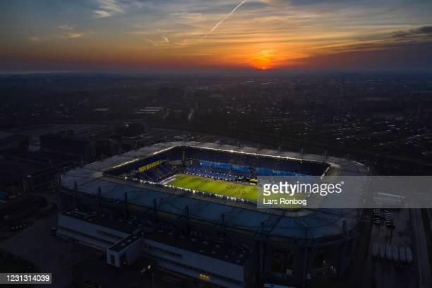 Aerial view of Brondby Stadion prior to the Danish 3F Superliga match between Brondby IF and Vejle Boldklub at Brondby Stadion on February 21, 2021...