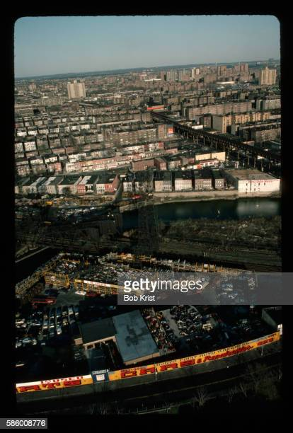 aerial view of bronx river and new york city - bronx stock pictures, royalty-free photos & images