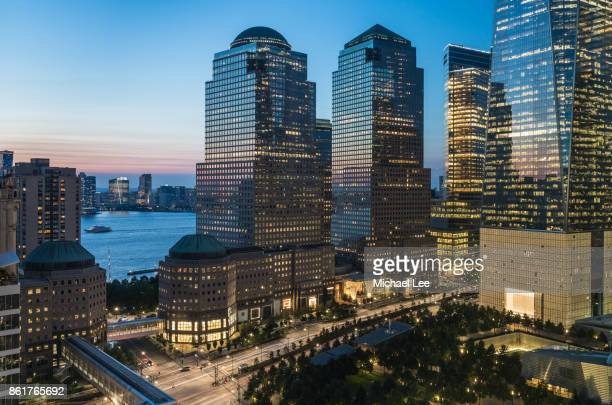 Aerial View of Brookfield Place and 9/11 Memorial - New York