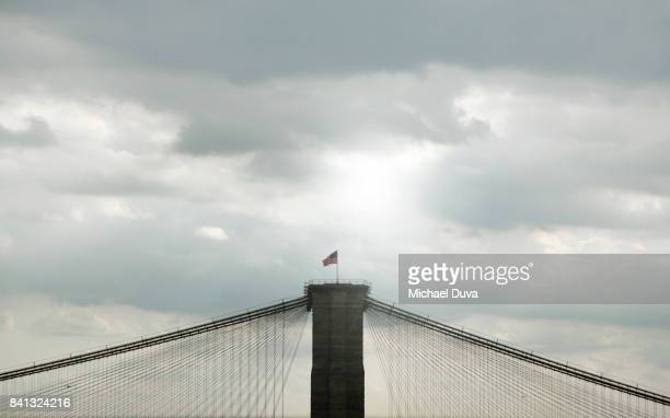 aerial view of brooklyn bridge with only clouds in background