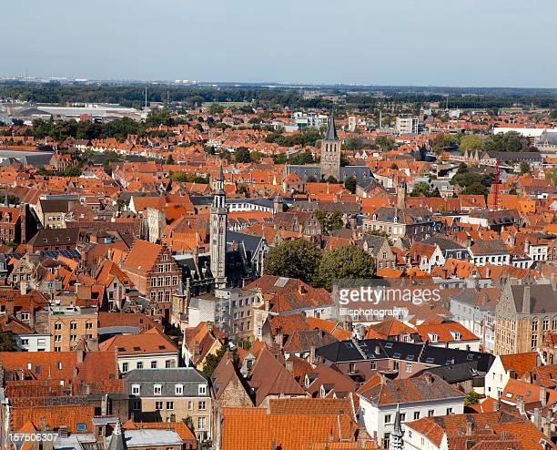 Aerial View of Bruges Belgium
