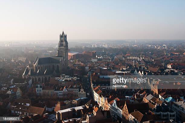 Aerial View of Bruges on a Misty Morning
