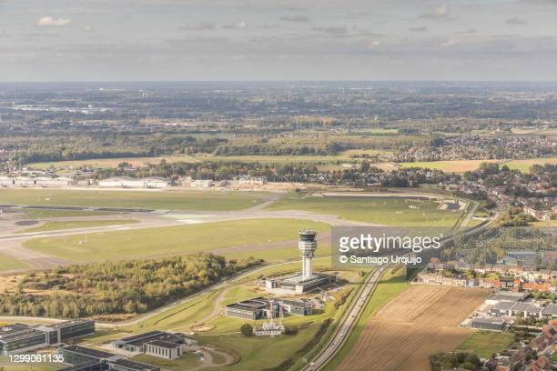 aerial view of brussels airport - zaventem airport stock pictures, royalty-free photos & images