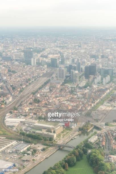 Aerial view of Brussels around Rogier Square