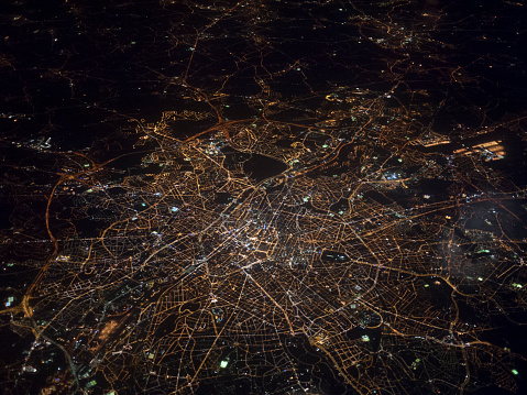 Aerial view of Brussels at night 489775975
