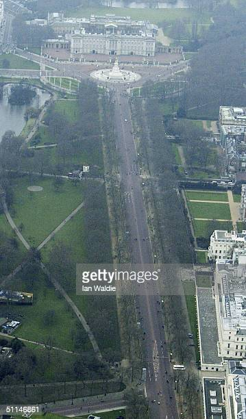 A aerial view of Buckingham Palace and the Mall is seen on February 15 2003 in London
