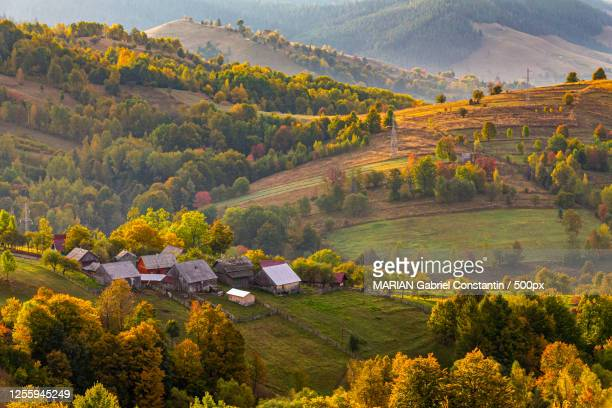 aerial view of bucovina village, romania - romania stock pictures, royalty-free photos & images