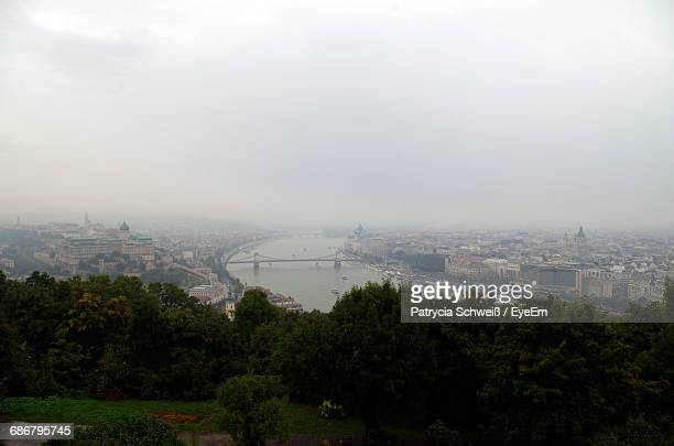 Aerial View Of Budapest Against Cloudy Sky