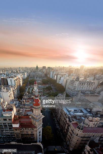 Aerial View of Buenos Aires Argentina with Palacio Del Congreso