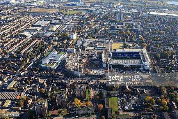 Aerial view of building work on the new Tottenham Hotspur stadium at White Hart Lane on November 2 2016 in London England