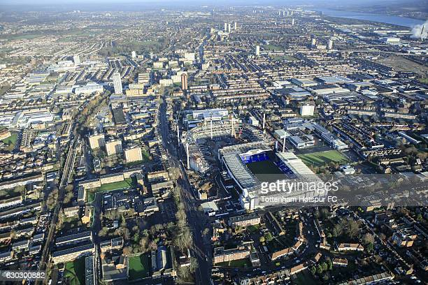 Aerial view of building work on the new Tottenham Hotspur stadium at White Hart Lane on December 20 2016 in London England